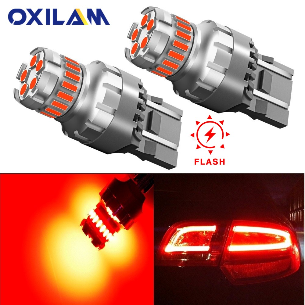 2pcs 3157 T20 Red Led Bulb T20 W21W W21/5W LED WY21W 7440 7443 Led Canbus 3156 P27/7W LED Bulb Alert Flash Car Brake Tail Light