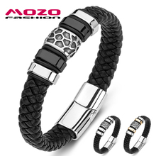 2020 Men Cuff Bracelet Braided Stainless Steel Trendy Genuine Leather Bangle Women Jewelry 3 Color trendy solid color nail shape cuff bracelet for women