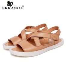 DRKANOL Women Sandals 2020 High Quality Genuine Leather Summer Flat Gla
