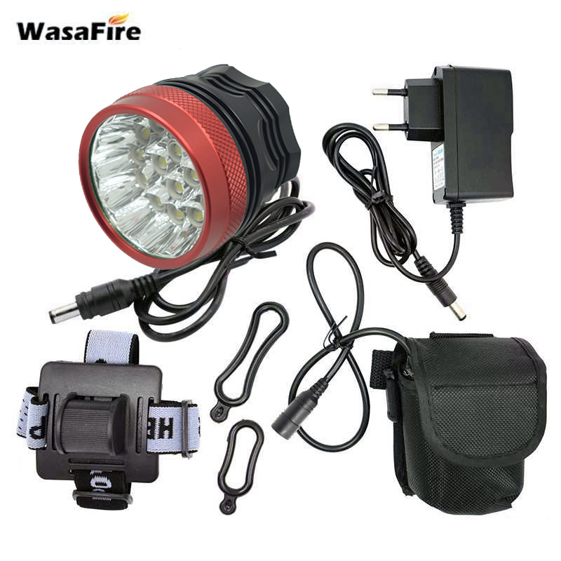 3 Modes 40000 Lumen Cycling Bike Headlight 16*T6 LED Bicycle Front Light Lamp Night Riding Flashlight 8.4V 9600mah Battery Pack