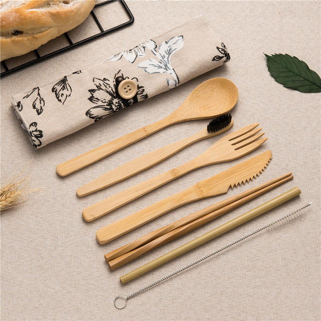 7/8/10pcs/set Reusable Bamboo Wooden Cutlery Set Fork Eco-Friendly Cutting Bag Office Worker Cooking Kitchen Tool Dinnerware Set 3