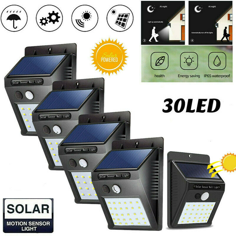 30 LED Solar Light Outdoor PIR Motion Sensor Light Sunlight Garden Security Wall Lamp Road Street Lamp Rainsafe Waterproof