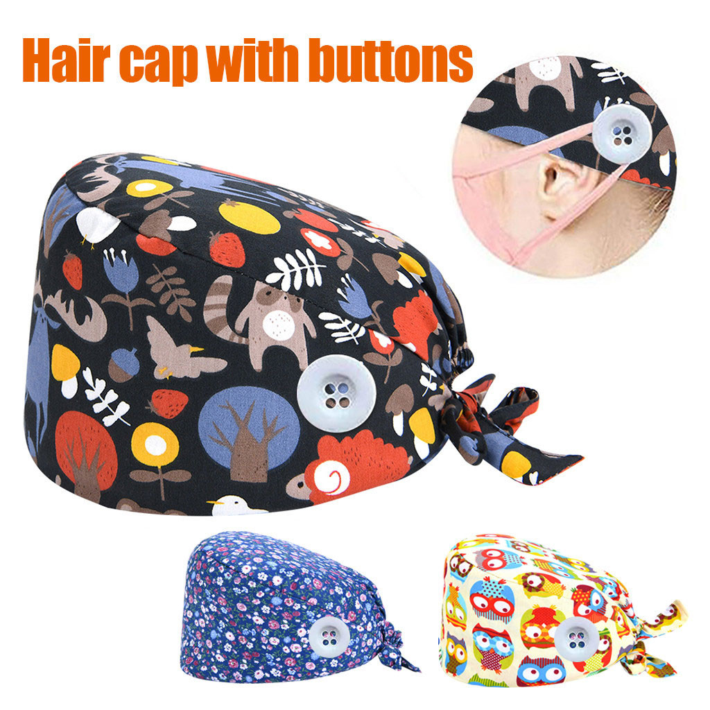 2020 Women Surgical Caps Medical Printed Button Work Hat Casual Unisex Scrub Cap Cotton Summer Dentist Work Hats Accessories