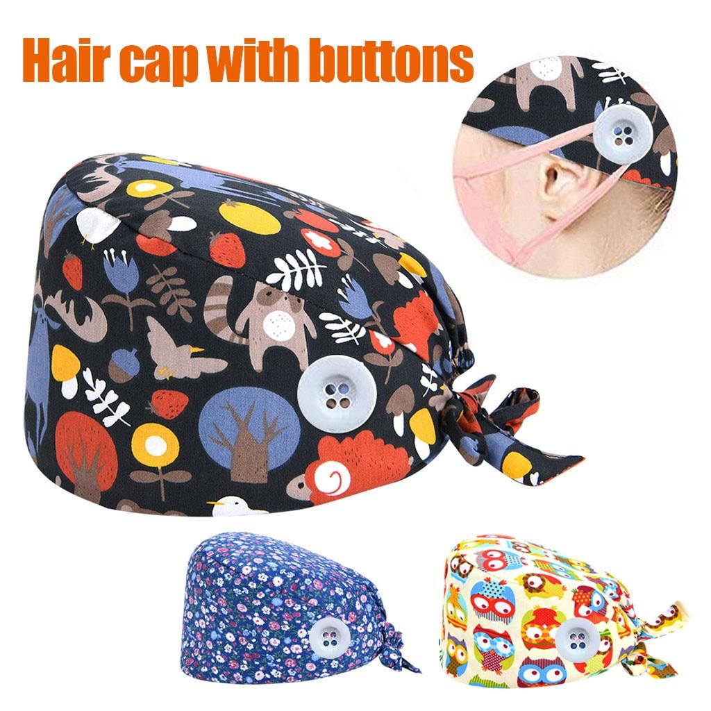 2020 Women Surgical Caps Medical Printed Button Work Hat Casual Unisex Scrub Cap Cotton Summer Dentist Work Hats Accessories