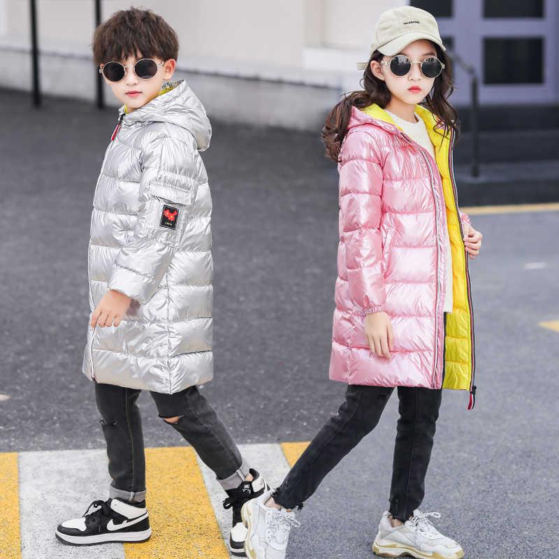 OLEKID Için 2019 Kış Ceket Kız Kapşonlu Su Geçirmez Uzun Erkek Kış Ceket 3-13 Yıl Çocuklar Genç Parka Çocuk snowsuit