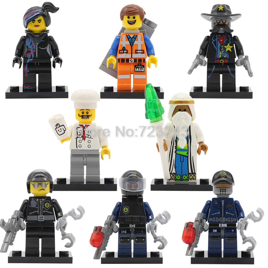 Movie Figure Single Sale Bad Cop Emmet Wyldstyle Sheriff  Robo SWAT Vitruvius Fireman Building Blocks Model Bricks Toy Legoing