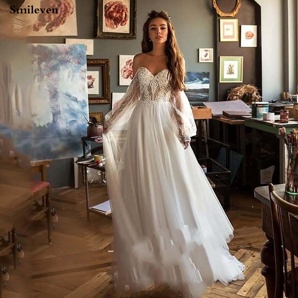 Smileve Princess Wedding Dress Puff Sleeve Boho Bride Dresses Nude Tulle Top Wedding Gowns Lace Appliques Vestido De Novia