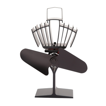 SANQ Black 2 Blades Heat Powered Wood Stove Fan for Wood Log Burner Fireplace Fan