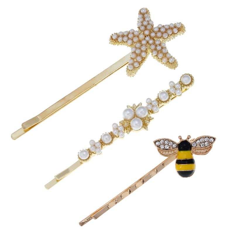3 Pcs/set Fashion Creative Women Lady Hairpin Small Bee Starfish Decoration Clips Cute Girl Side Clip Student Hair Accessories