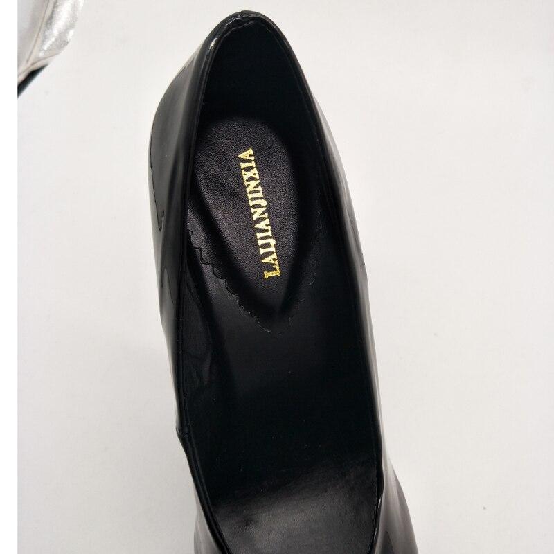 LAIJIANJINXIA/Новинка; женские туфли лодочки на высоком каблуке 17 см; вечерние женские туфли; размеры 46; женские туфли на каблуке; Цвет черный, красный; белые туфли на каблуке - 6