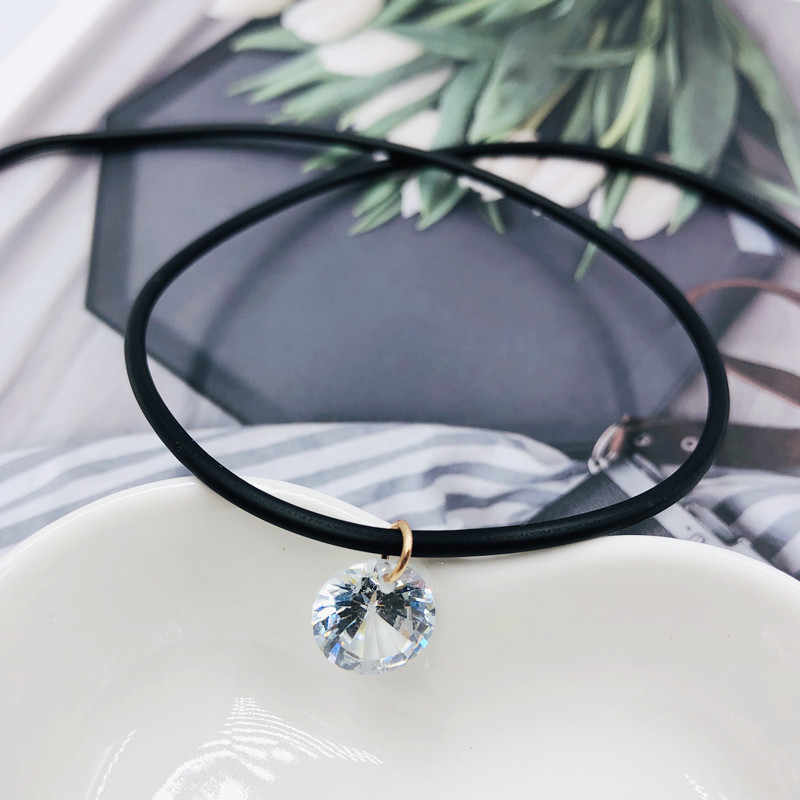 Collar femenino de fishline transparente, cadena de cuero, colgante de cristal de diamantes de imitación, cubo de cristal de rubik, moda simple