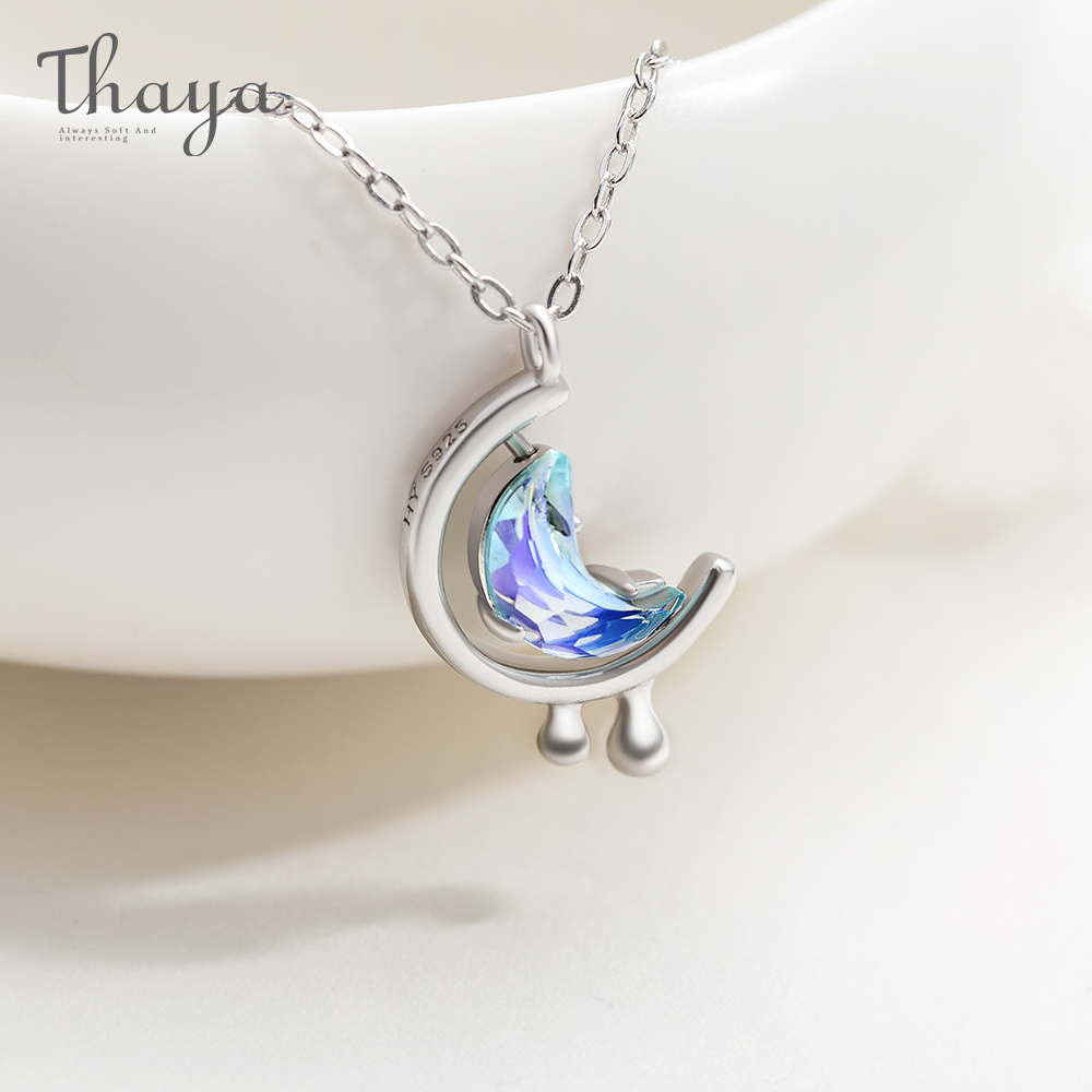 Thaya s925 Silver Water In The Moon Necklace Blue Moon Bohemia Women Choker Necklace for Women Jewelry Gift