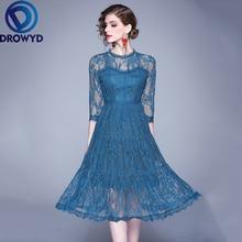 Openwork Lace Midi Dress for Women Autumn Casual Blue Long Sleeve Fashion Boho Dress Retro Elegant Club Party Dresses Vestidos openwork lace midi dress