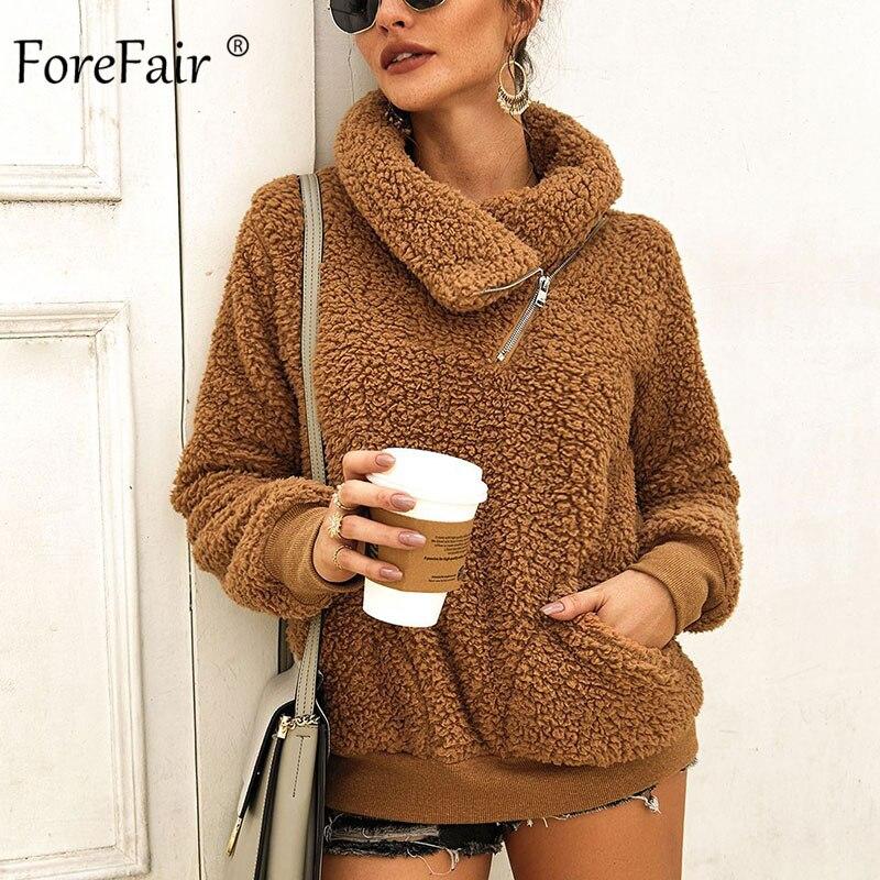 Forefair Zip Oversize Faux Fur Sweatshirt Winter Women Pullovers 2019 Turn Down Neck Long Sleeve Warm Casual Fleece Hoodies