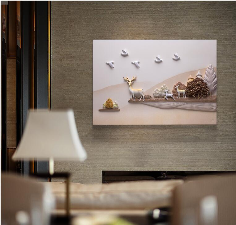 Moderne Reliëf 3D Hars Vogel Herten Landschap Muursticker Muurschildering Decoratie Ambachten Thuis Kamer Muur TV Achtergrond Schilderij Ornament - 3