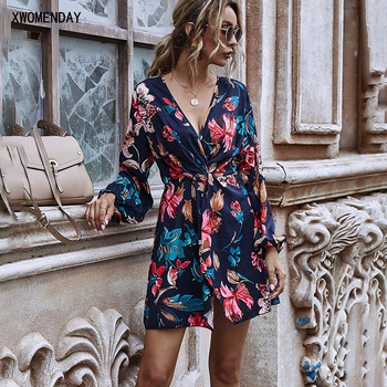 Dress Autumn Winter Elegant Ladies Floral Flower Print Ruched Clothes Long Sleeve Party Dresses For Women 2020 Fall Fashion new fashion summer dress women chiffon long dress v neck flare sleeve floral print elegant ladies dresses women clothing