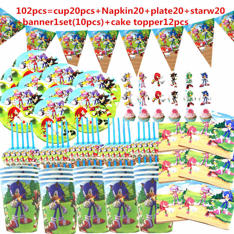 102pc Sonic The Hedgehog Birthday Party Disposable Decorationparty Tableware Set Tablecloth Cup Paper Plate Kids Party Supplies Aliexpress