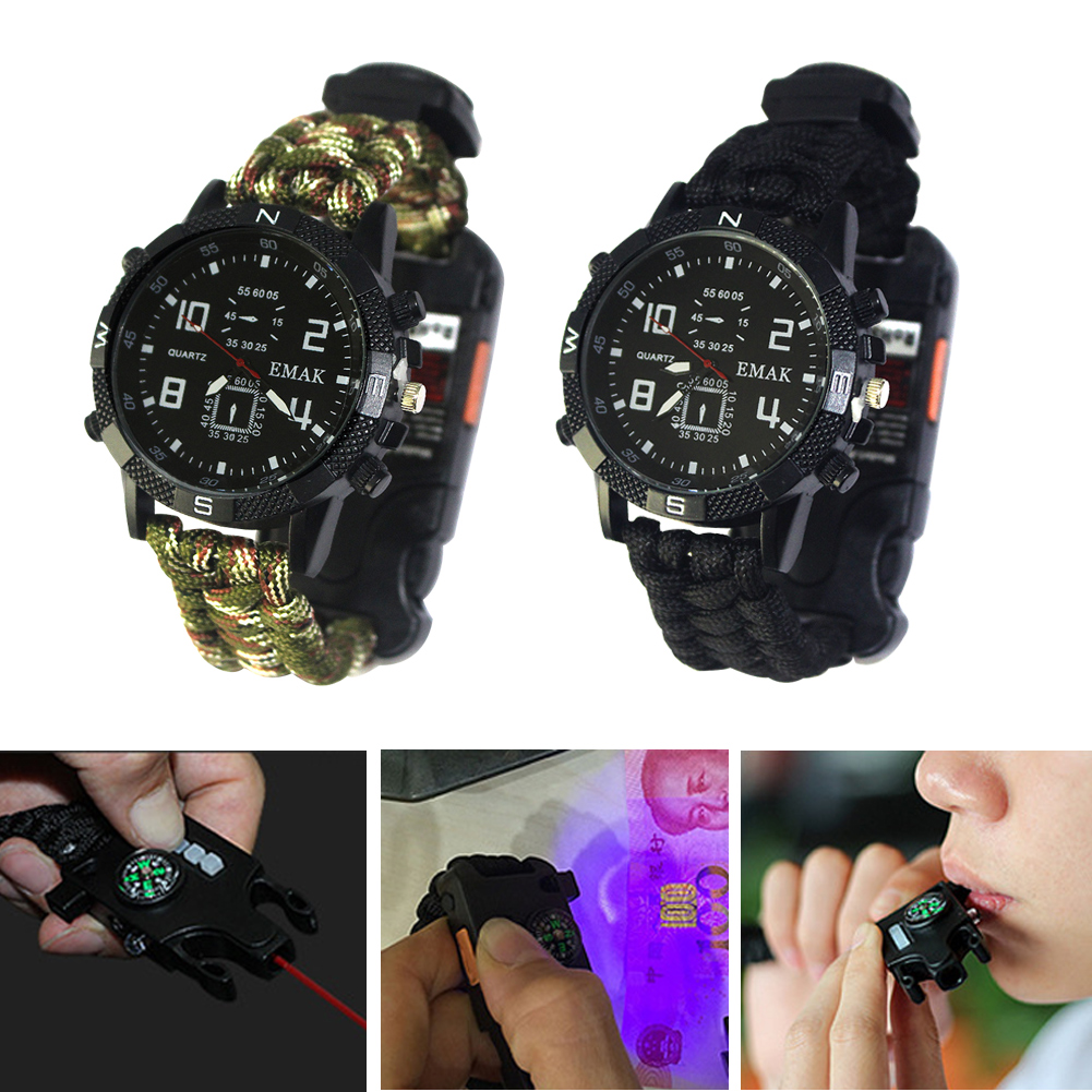 EDC Tactical multi Outdoor Camping survival bracelet watch Rescue Rope paracord equipment Tools kit(China)