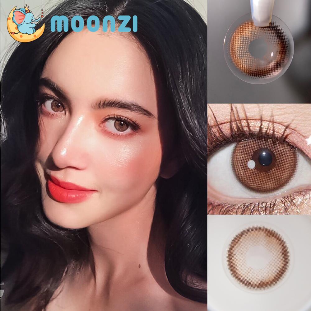 Эксклюзивные уникальные контактные линзы MOONZI розового, коричневого цвета, маленькие красочные цветные контактные линзы для глаз, для корре...