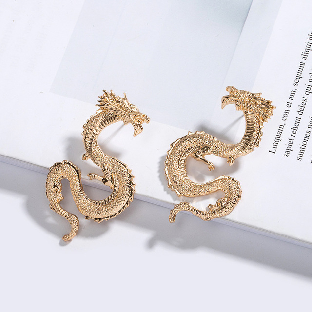 HUANZHI 2020 New Vintage Gold Sliver Snake Shapes Dragon Metal Stud Earrings Personality For Women Girls.jpg 640x640 - HUANZHI 2020 New Vintage Gold Sliver Snake Shapes Dragon Metal Stud Earrings Personality For Women Girls Party Travel Jewelry