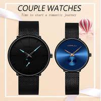 CRRJU 恋人の腕時計男性と女性のファッションドレス腕時計防水日付時計カップルの腕時計に設定された販売