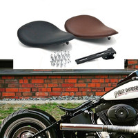 3 inch Leather Motorcycle Spring Driver Seat Cover For Sportster Chopper Bobber Custom Solo Spring Bracket Seat