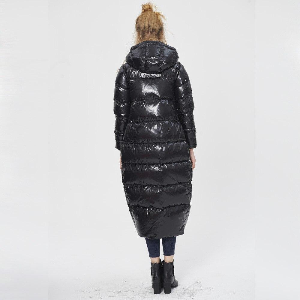 European Fashion 2020 Winter Duck Down Jackets Women Asymmetric Zipper Long Loose Parkas Plus Size 5XL Casaco Feminino