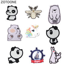 Zotoone Naai Op Patches Dier Sticker Iron Op Panda Beer Patch Voor Kleding Warmteoverdracht Diy Applique Geborduurd Doek Stof G(China)