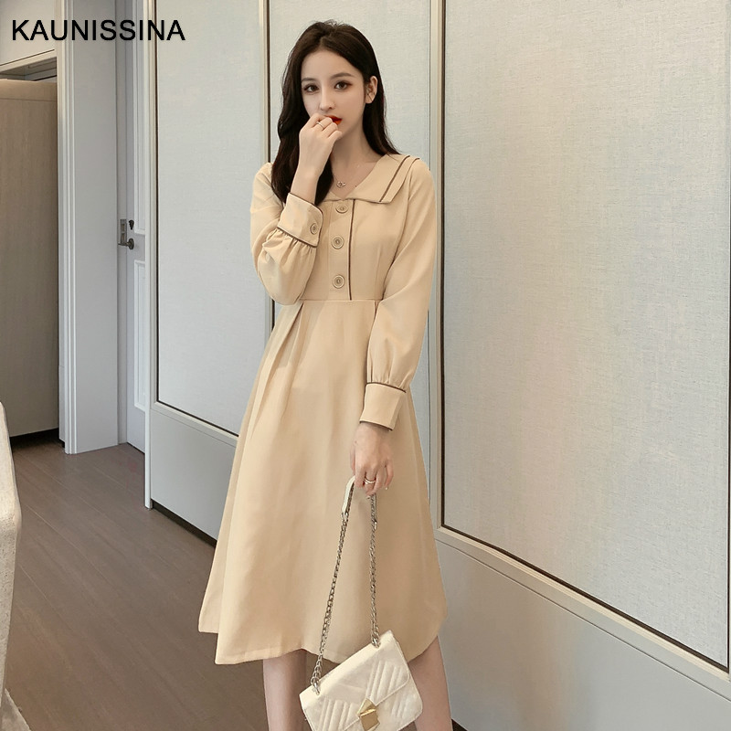 KAUNISSINA Spring Autumn Cocktail Dresses Long Sleeve Turn Down Collar Homecoming Robe Party Dress Vestido