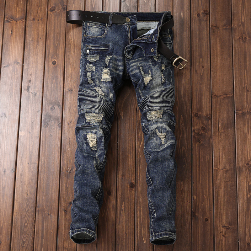 New Style European And American Style Trend Of Fashion Locomotive Jeans Men's Slim Fit Nostalgic Elasticity With Holes Beggar ME