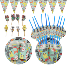 Cute Dog Pet Blue Bingo Paper Plates Cups Disposable Tableware Sets TV Dog Theme Birthday Party Baby Shower Pet Party Supplies lego blocks theme disposable tableware set paper plates cups baby shower birthday party supplies decoration for kids