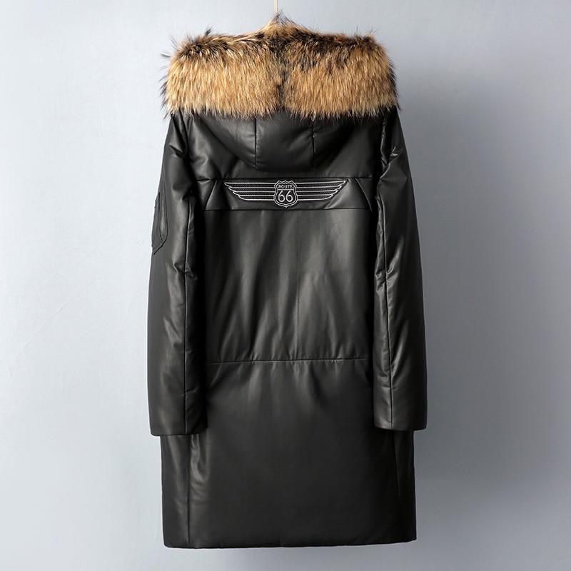 Men Sheepskin Genuine Leather Jacket Duck Down Winter Coat Natural Raccoon Fur Collar Hooded Casaco 2259 YY886