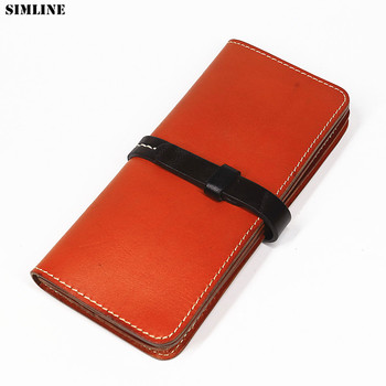 Genuine Leather Men Wallet Vintage Handmade Male Long Bifold Clutch Wallets Purse Card Holder With Zipper Coin Pocket Money Bag