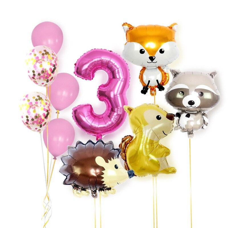 10pcs Jungle Animal party theme digital balloon Jungle baby shower balloon birthday party decoration baby balloon combination