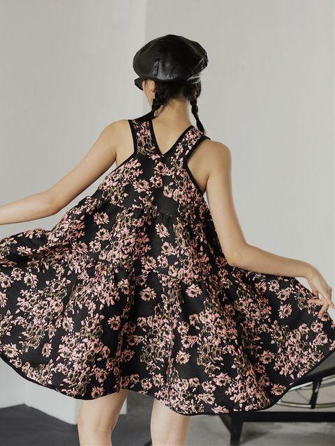 Nbpm Women's Dress High Waist Weet Sleeveless Flower Pattern New 2021 Winter Spring Women Dresses 5