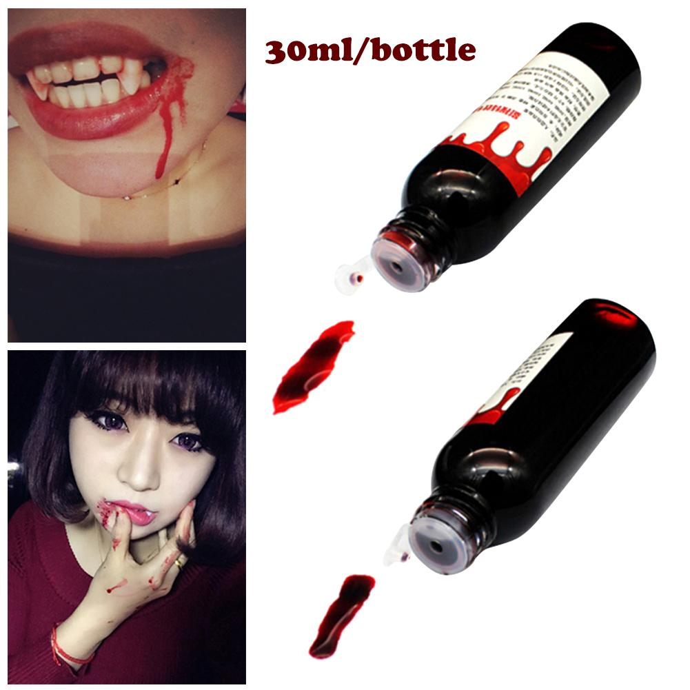 <font><b>30</b></font> ml Non-toxic Realistic Fake Blood DIY Halloween <font><b>Decoration</b></font> Artificial Blood Bottle Drop Simulation Props Holiday Party Supply image