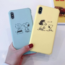 Japan cute cartoon puppy Charlie Brown phone case For iphone Xs MAX XR X 6 6s 7 8 plus fun Lucy couple soft TPU back Cover Coque