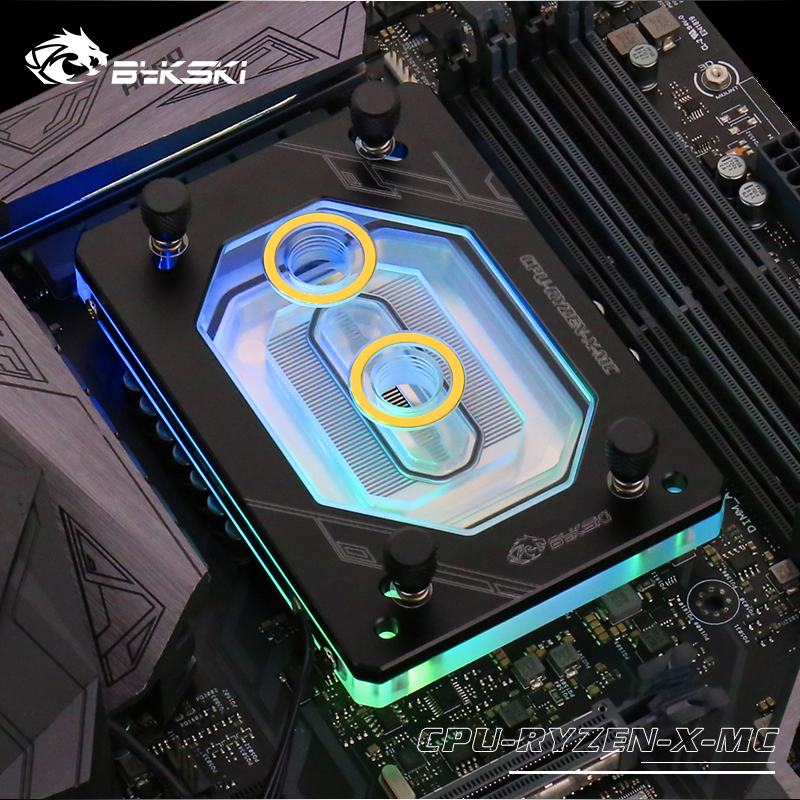 Bykski For RYZEN3000 RyzenAM3/AM3+/AM4 1950X TR4 X399 X570 CPU Water Block Fan Cooling Copper Radiator Water Cooler Cooling