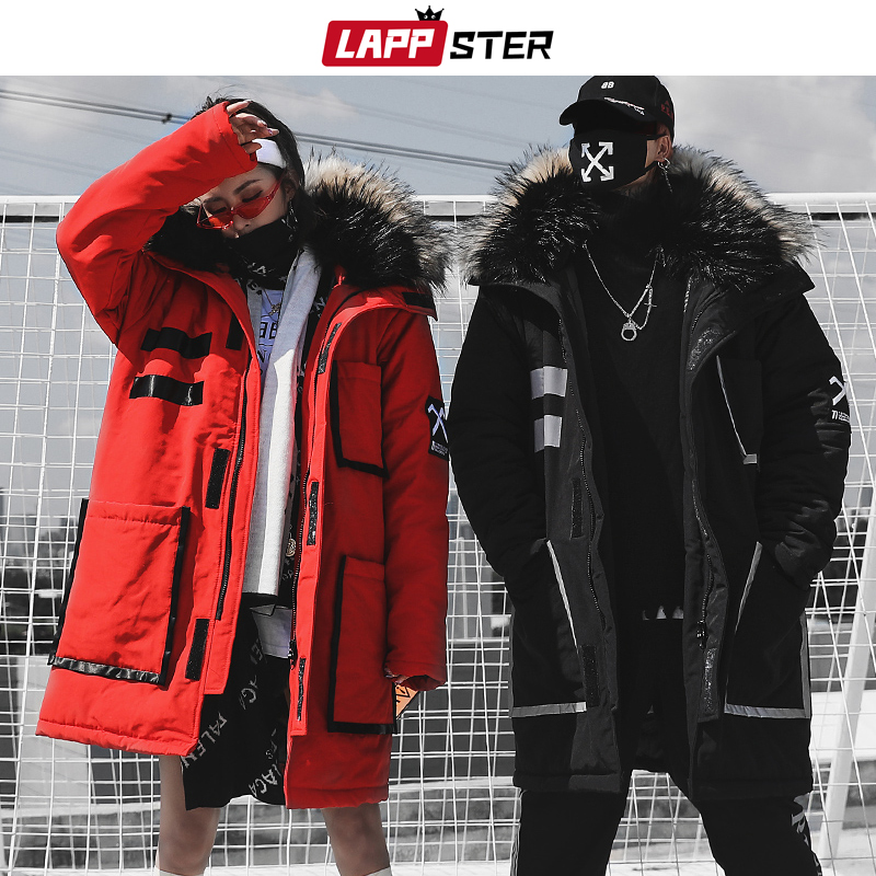 LAPPSTER Streetwear Winter Parkas Men 2020 Mens Japanese Thick Long Coat Windbreaker Hip Hop Fashion Warm Hooded Jackets Coats