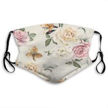 Vintage flor patrón cara máscaras con filtro reemplazable máscara de la boca de la mufla máscara cómodo y transpirable boca cubierta