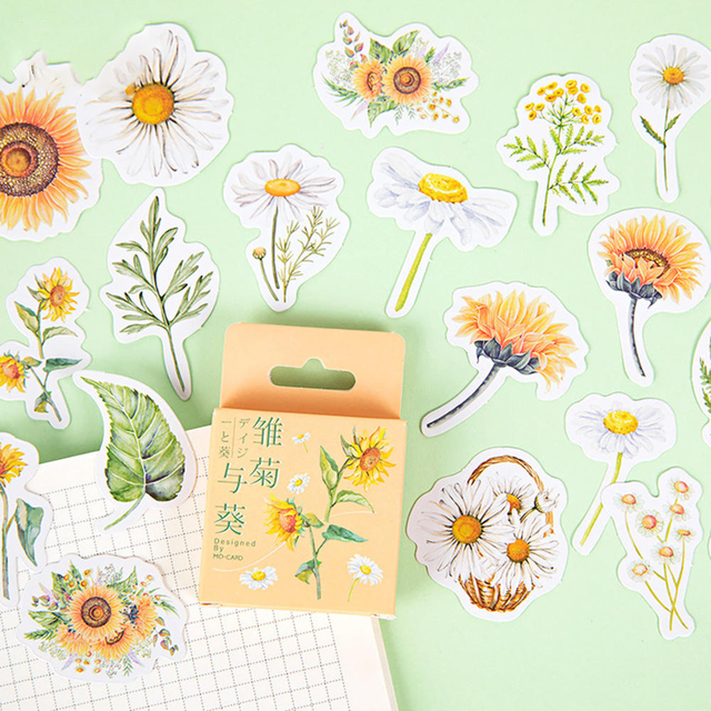 46x Cute Korean Japanese Journal Paper Diary Flower Stickers L0Z0 T7M9