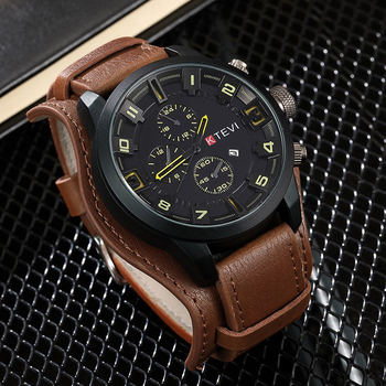 Mens Watches Top Luxury Brand Waterproof Sport Wrist Watch Chronograph Quartz Military Genuine Leather Relogio Masculino genuine guanqin luxury brand gs19078 chronograph creative quartz watch men military sport leather wristwatch relogio masculino