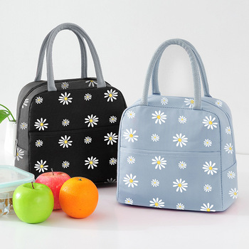 New Japanese Daisy Waterproof Oxford Cooler Bags Portable Zipper Thermal Lunch For Women Convenient Box Tote Food Bag - discount item  15% OFF Special Purpose Bags