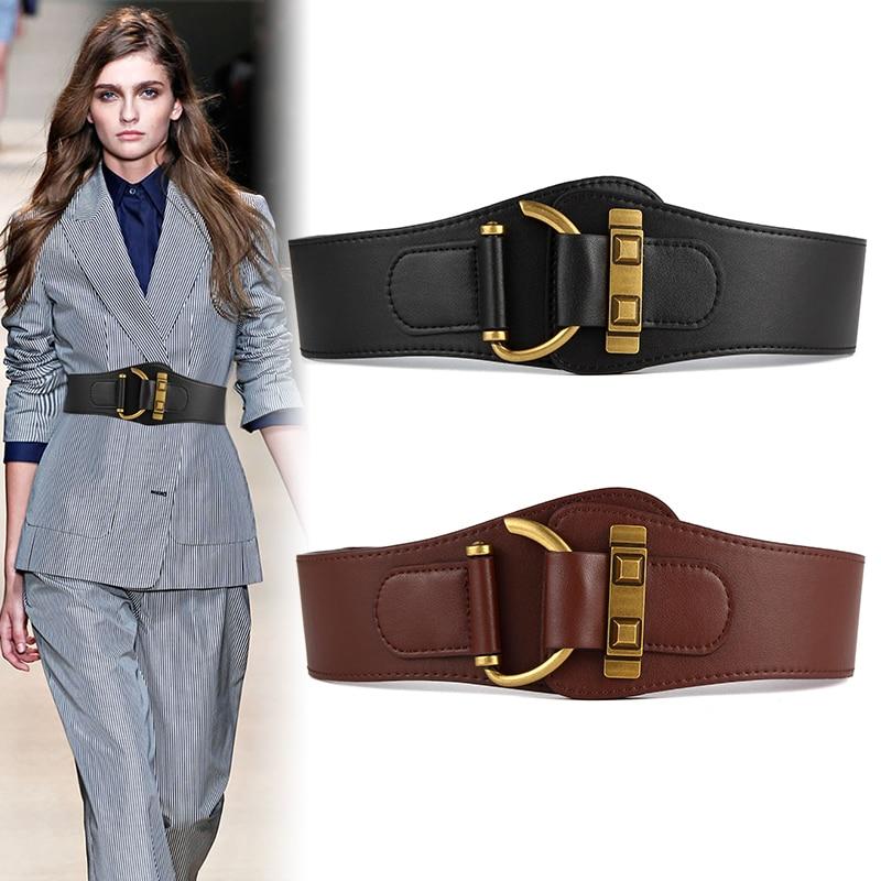 Good Quality Waistband Black Wide Fashion Dress Coat Genuine Leather Cummerbund Elastic Ceinture Luxury Corset Girdle Women Belt