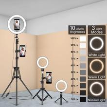 Светодиодный кольцевой светильник для фотосъемки светильник ing селфи лампа USB с регулируемой яркостью со штативом для Youtube для студийной фо...
