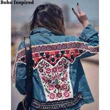Boho INspired Embellished Denim jacket women 2019 autumn winter jacket coat female ethnic hippie chic gypsy coat women outwear chic rhinestone embellished women s cuff ring
