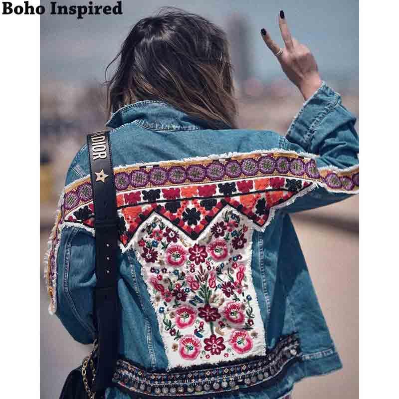 Boho inspirado embellecido chaqueta de mezclilla mujeres 2019 Otoño Invierno chaqueta abrigo mujer étnico hippie chic gitano abrigo mujer outwear