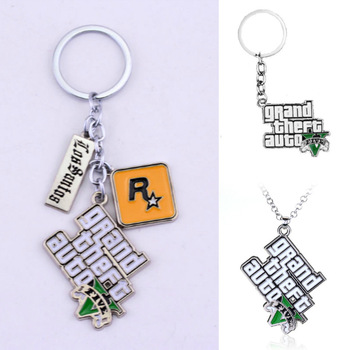 GTA 5 Grand Theft Auto 5 Keychain Game PS4 Key Chain for Men Fans Letter Grand Theft Autob Rock Star Keychain Key Buckles Gift 2