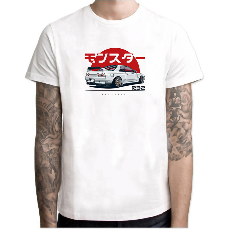 R32 GTR Vintage Funny T Shirt Unicorns Funny Cool Monster Skyline Harajuku Fashion Short  Men's White Car Aesthetic T-shirt