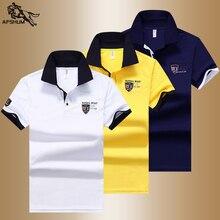 صيف جديد الرجال قميص بولو رجالي الألياف الاصطناعية النسيج رجالي قصيرة الأكمام التطريز قميص بولو عادية تنفس قميص بولو 633